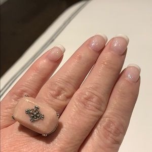 Pink quartz and sterling silver ring